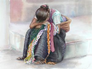 Chiapas Girl, Watercolor