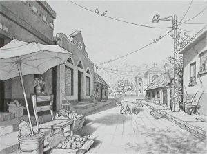 Latin Street, Pencil and Marker