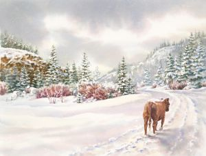 Saunter a Snowy Path, Watercolor