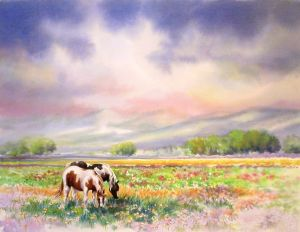 Grazing a Spring Meadow, Watercolor