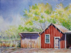 The Red Shed, Watercolor